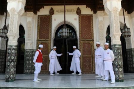 Une des entrées du célèbre hôtel de luxe La Mamounia, à Marrakech, dans le sud du Maroc, prise en photo le 2 novembre 2009 (Photo ABDELHAK SENNA. AFP)