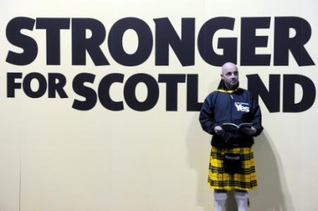 Un militant du parti pro-indépendance, the Scottish National Party (SNP), lors d'un con,grès à Glasgow, le 15 octobre 2016 (Photo Andy Buchanan. AFP)