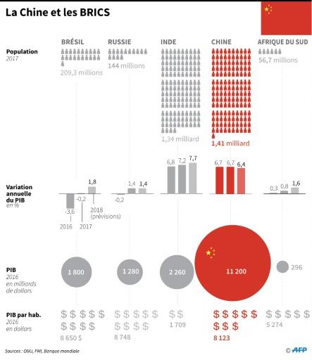 Comparaison des principales données économiques du Brésil, de la Chine, de la Russie, de l'Inde et de l'Afrique du Sud (Photo John SAEKI. AFP)
