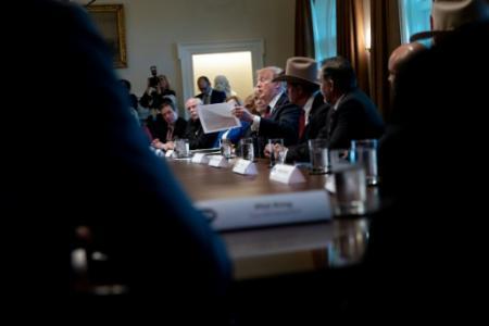 Le président Trump lors d'une réunion à la Maison Blanche sur la sécurité aux frontières, le 11 janvier 2019 à Washington (Photo Brendan Smialowski. AFP)