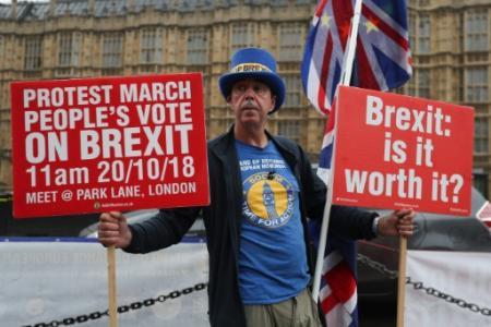 Steve Bray, un Gallois de 59 ans, ici le 17 octobre 2018, manifeste devant le Parlement à Londres à chaque session depuis plus d'un an en criant inlassablement: 'Stop Brexit!' (Photo Daniel LEAL-OLIVAS. AFP)