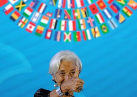 Christine Lagarde, directrice générale du FMI, lors de la cérémonie de clôture des réunions annuelles du FMI et de la Banque mondiale le 14 octobre 2018 à Nusa Dua, sur l'île indonésienne de Bali (Photo Sonny TUMBELAKA. AFP)