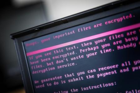 Un ordinateur infecté par un logiciel de rançon à Geldrop aux Pays-Bas, le 27 juin 2017 (Photo Rob Engelaar. ANP)