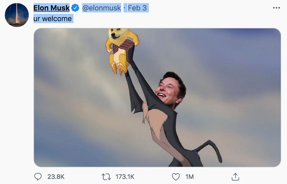 Elon Musk et la mascotte du Dogecoin