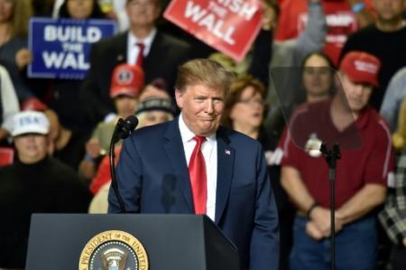 Donald Trump vante le mur en campagne à El Paso, Texas (Photo Nicholas Kamm. AFP)