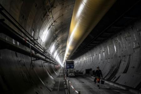 Vue du chantier du tunnel de la liaison Lyon-Turin, à Saint-Martin-la-Porte le 29 novembre 2018 (Photo MARCO BERTORELLO. AFP)