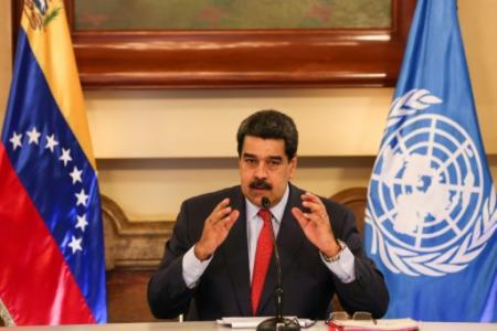 Le président vénézuélien Nicolas Maduro lors d'une rencontre avec des représentants de l'ONU, le 12 janvier 2018 à Caracas (Photo Zurimar CAMPOS. Venezuelan Presidency)